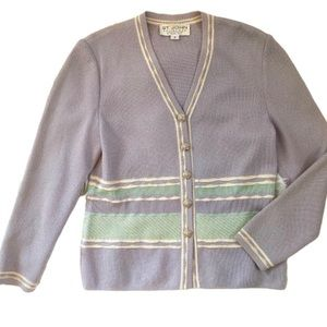 St. John by Marie Gray Purple and Green Cardigan